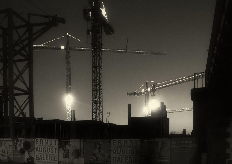 Night cranes Black & White City, Construction Crane Industry Night Night Photography