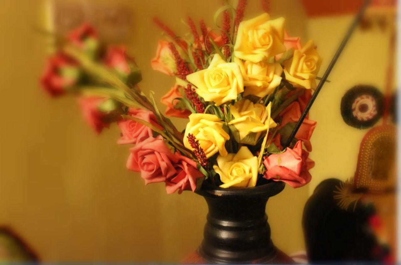 flower, vase, indoors, petal, rose - flower, flower head, flower arrangement, bouquet, fragility, no people, close-up, freshness, beauty in nature, nature, multi colored, day, florist