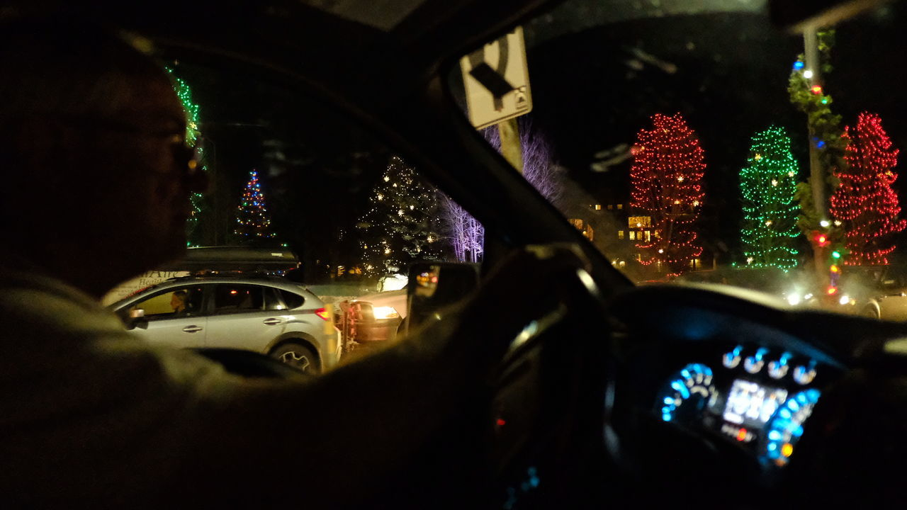 Car Car Interior Christmas Lights Christmas Trees Natural City City Life Close-up Dashboard Illuminated Land Vehicle Meter - Instrument Of Measurement Mode Of Transport Night Speedometer Steering Wheel The City Light Transportation Vehicle Interior