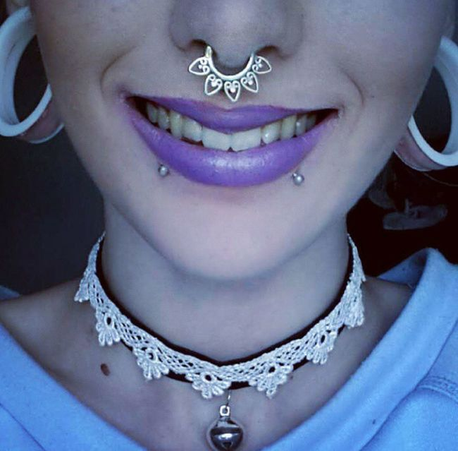 my septum rings came today im in love . ♡♡ Stretchedears Choker Septum Piercing Snakebites Modified Alternative PiERCiNGS & TATTOOS Purple Lipstick Piercings