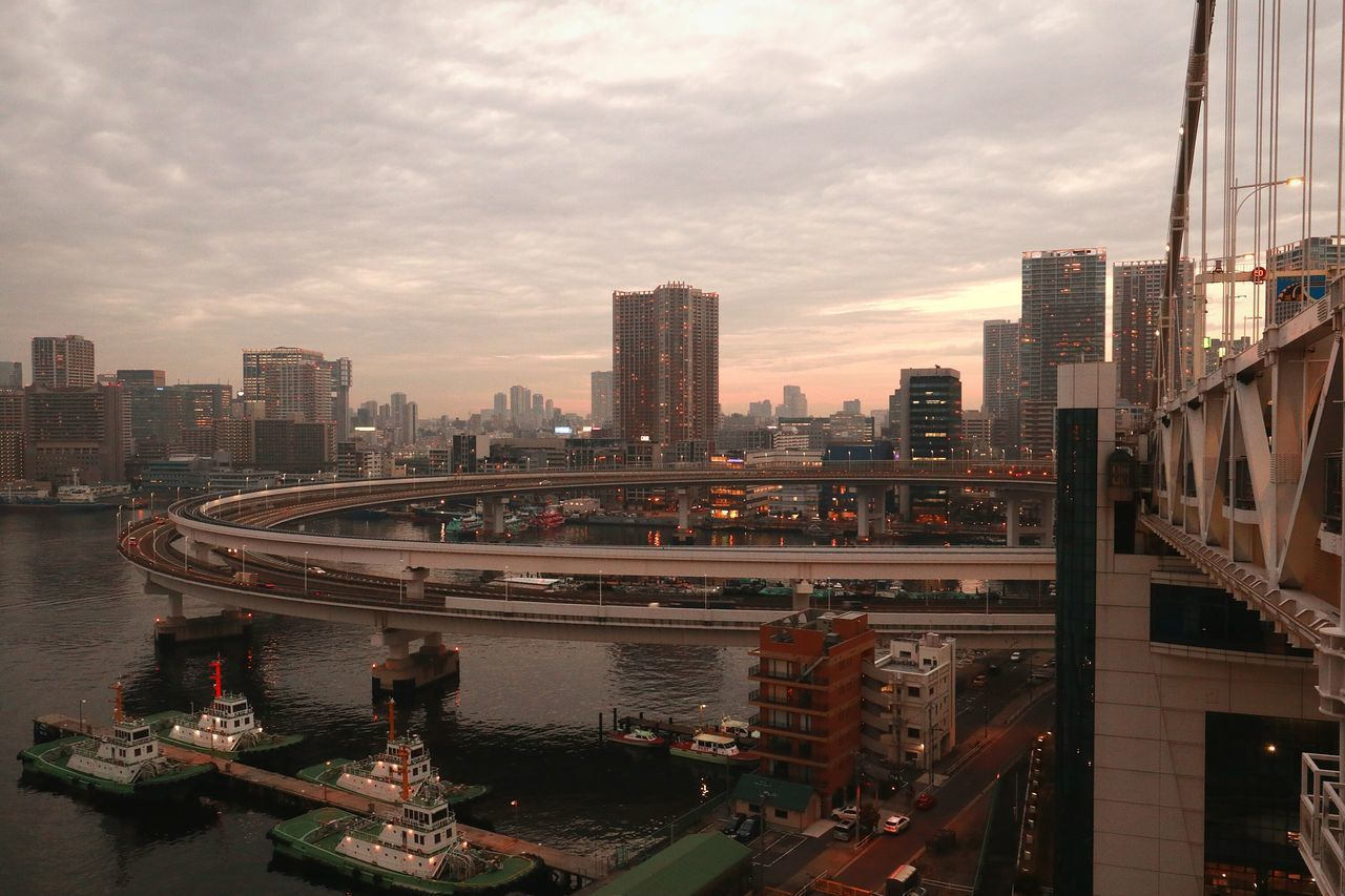 Tokyo Japan Tokyobay Rainbowbridge Bridge Boat Tokyo Bay Cityscape Urban Landscape