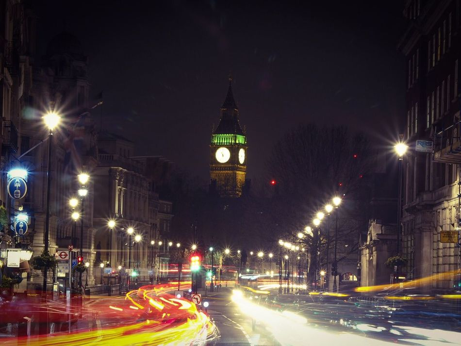 London Illuminated Night Long Exposure Light Trail Motion Blurred Motion Speed Architecture Street Light Building Exterior Clock Tower Built Structure Outdoors Winter City No People Clock Time Sky Big Ben