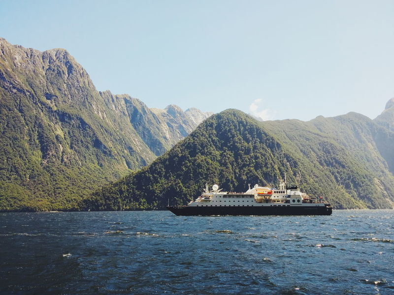 Cruising through milford sound Cruise Ship Milford Sound Crusing River Boat Travel New Zealand