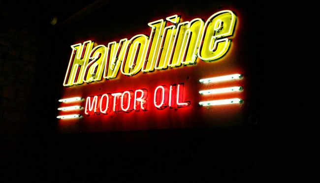 Shop Signs Oil Change Motor Lubricants Service With A Smile That's how We like it! Gas Monkey Bar & Grill Dallas, Tx.