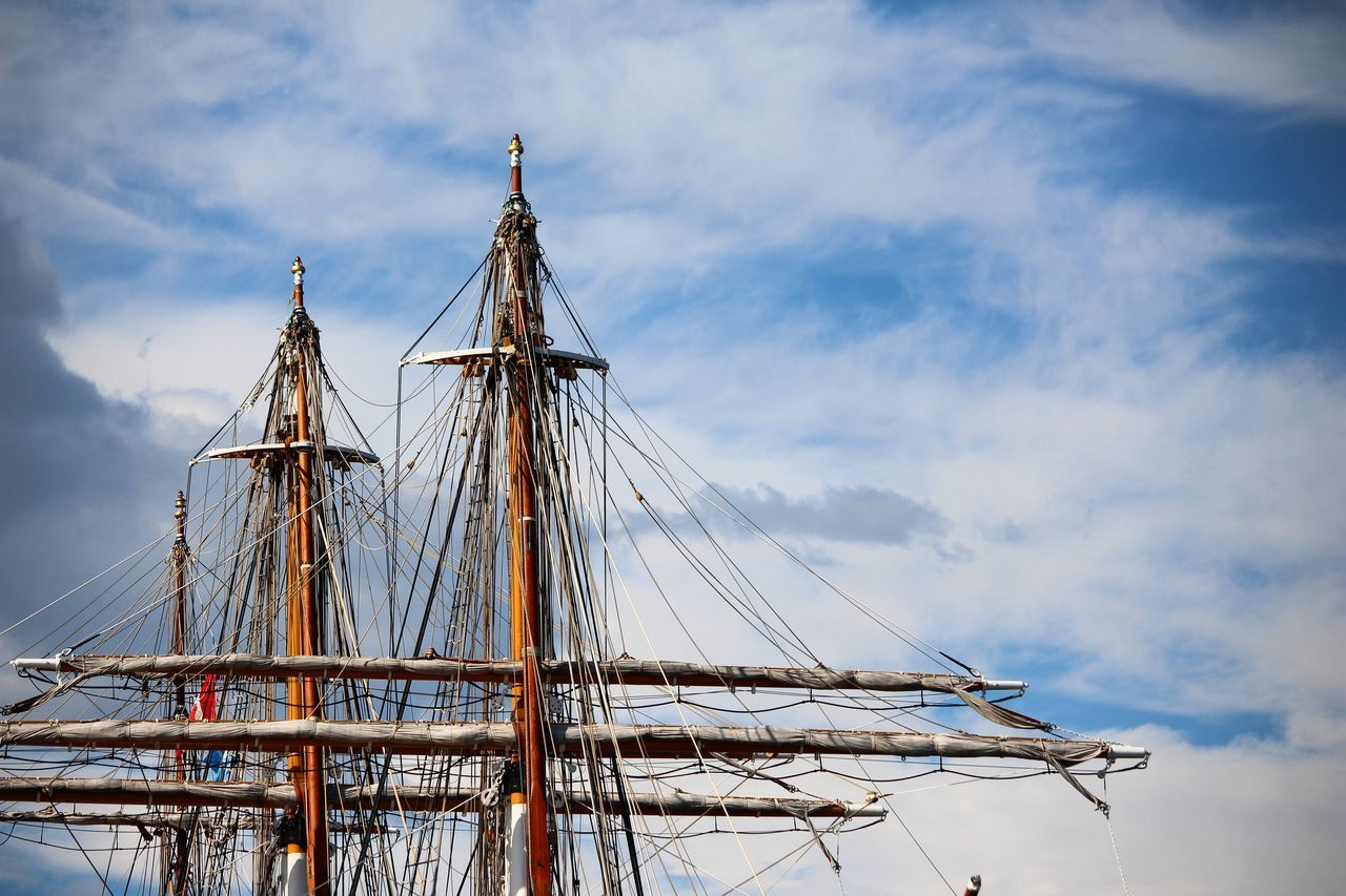 nautical vessel, transportation, mast, sky, mode of transport, cloud - sky, outdoors, day, no people, low angle view, sailing ship, sailboat, rigging, nature, tall ship