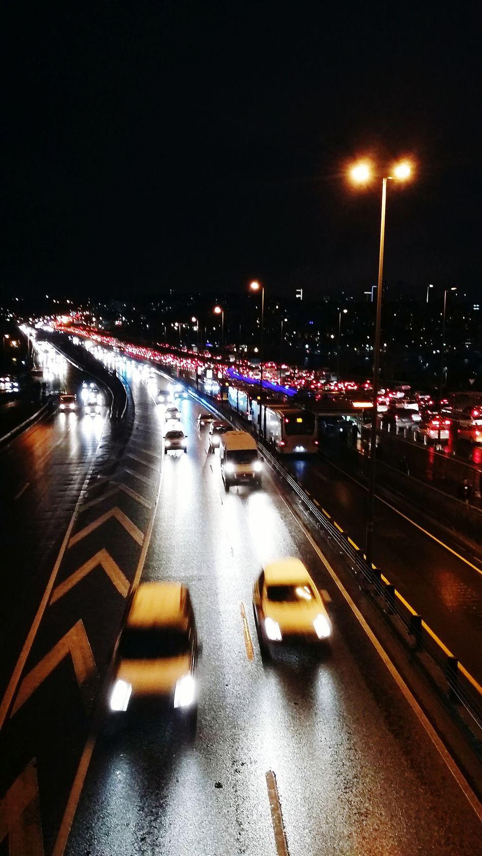 ıstanbul Trafik E5 Turkey Gece Araba Soguk Kar Kiş