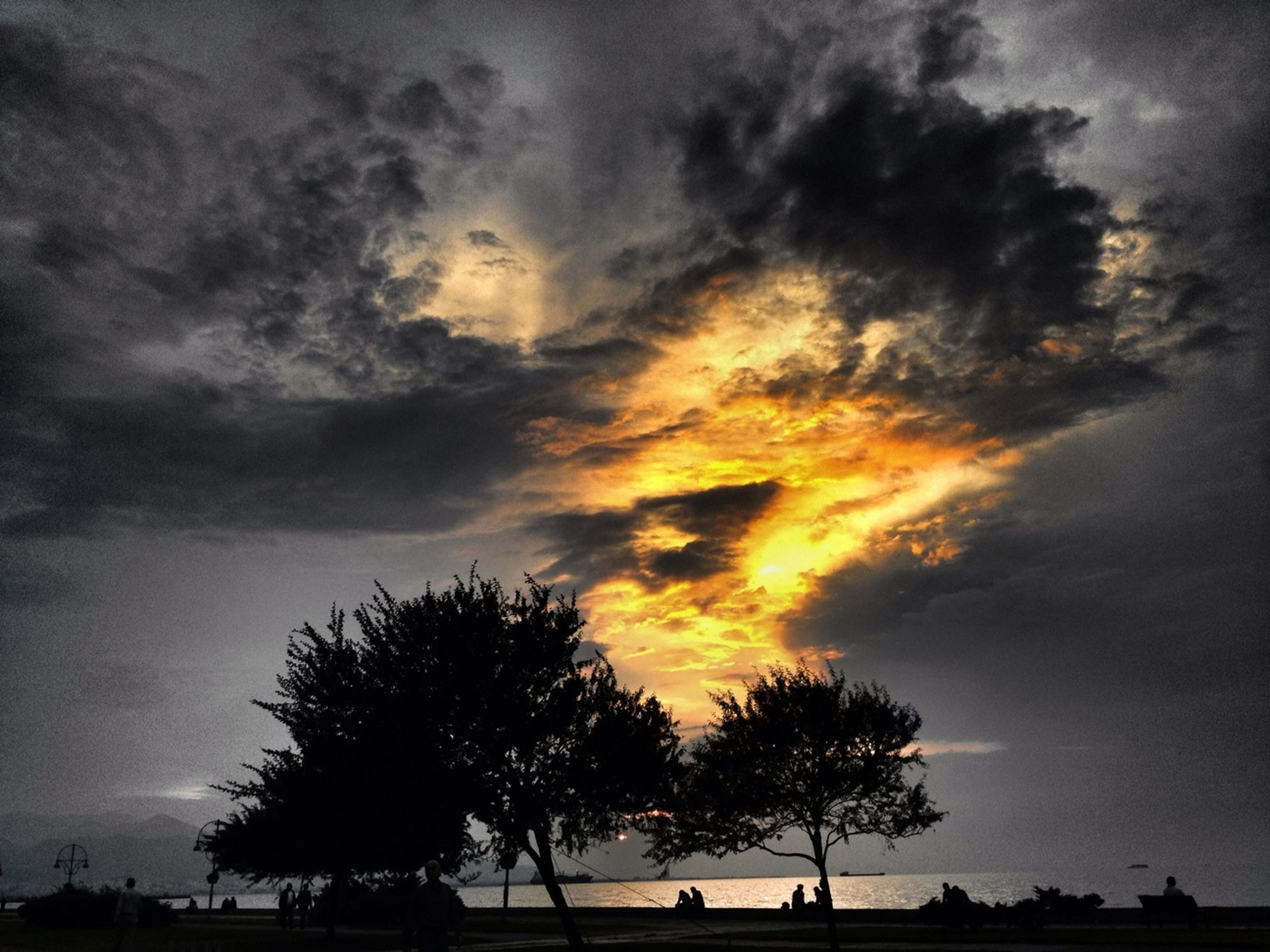 silhouette, sky, tree, sunset, cloud - sky, tranquility, tranquil scene, scenics, beauty in nature, cloudy, nature, cloud, dramatic sky, idyllic, dusk, weather, landscape, outdoors, overcast, low angle view