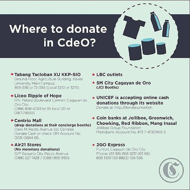 (Image by Crusader Publication) HelpVisayas ReliefPH YolandaPh Haiyan where to donate if you're from CDO. More places st cdosocial.com , if you know someplace else, leave a comment on twitter/Ig (@ohpenda)