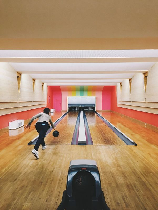 Architecture Bowling Bowling Alley Building Built Structure Day Lifestyles Modern Multi Colored Rainbow Colors Rainbowcolors