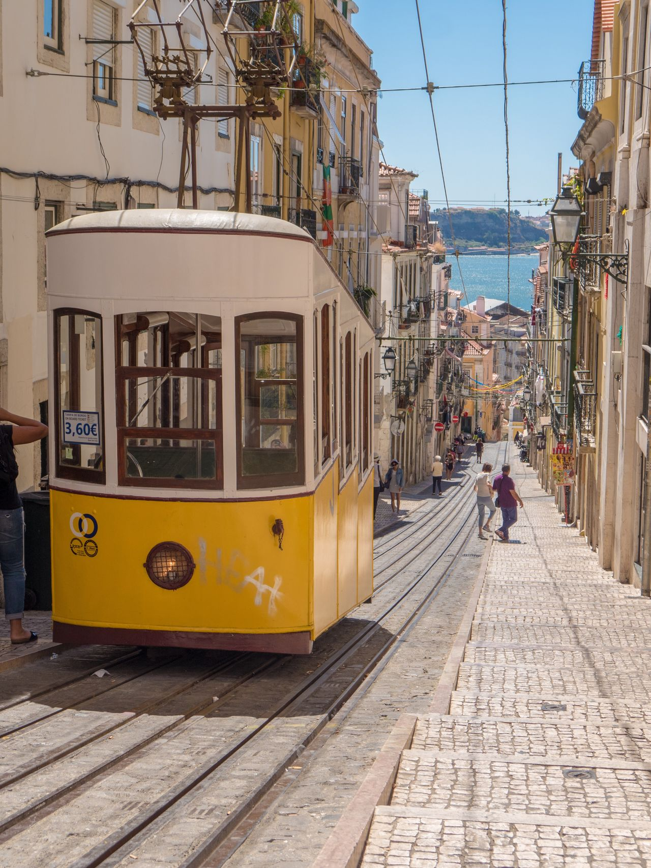 Straßenbahn in Lissabon | Tram in Lisboã City Lisbon Transportation Tram Public Transportation Yellow Street Summer Hill Electricity  People