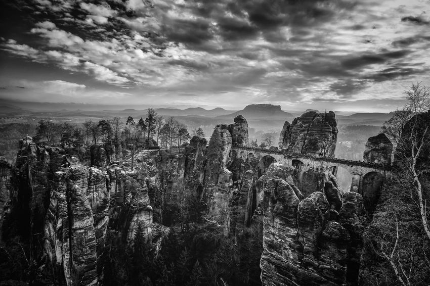 Bastei Rocks Landscape Black And White