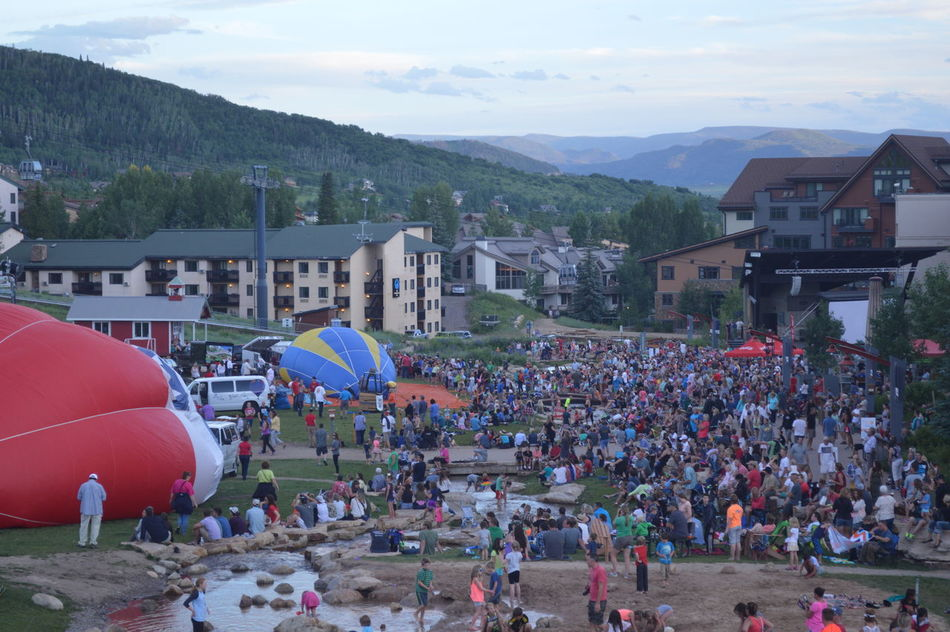 Crowd Hot Air Balloons Ski Resort  Small Town Event Steamboat Steamboat Resort Steamboat Springs Summer Summer Event Summertime Vacation Showcase July