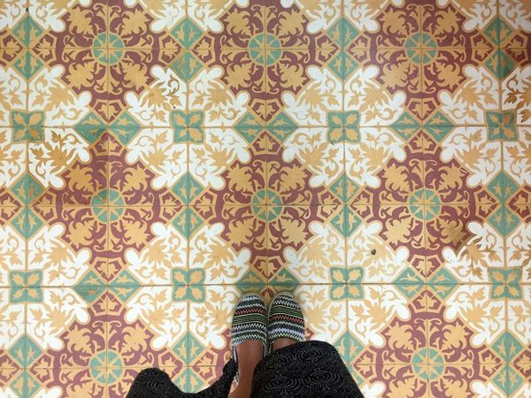 Vintage Style Directly Above Feet On The Ground Feetselfie Floral Pattern Human Leg Indoors  Low Section One Person One Woman Only Pattern Real People Standing Tiled Floor Tiles