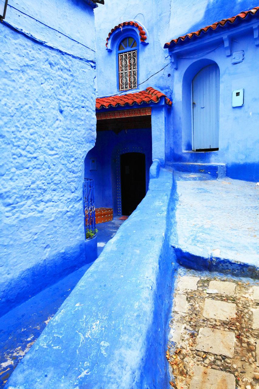 door, architecture, building exterior, entrance, built structure, doorway, no people, blue, outdoors, day, entry, open door