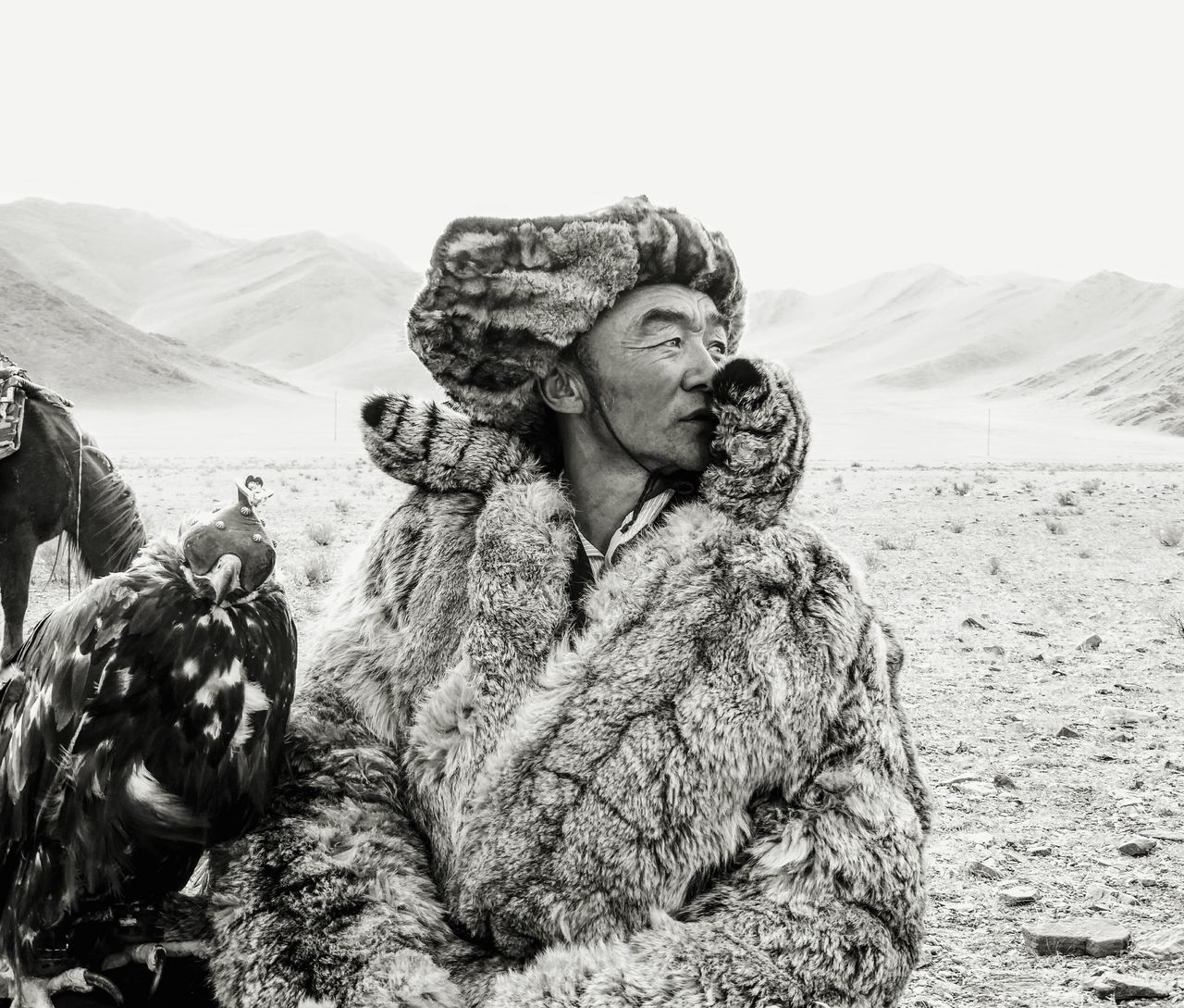 Eagle Mongolia Freedom Hunter Animals Bird Nature Culture Blackandwhite Black & White Blackandwhite Photography Wildlife Wildlife & Nature Portrait Human Fur Shades Of Grey Non-urban Scene Beauty In Nature Beauty My Favorite Photo