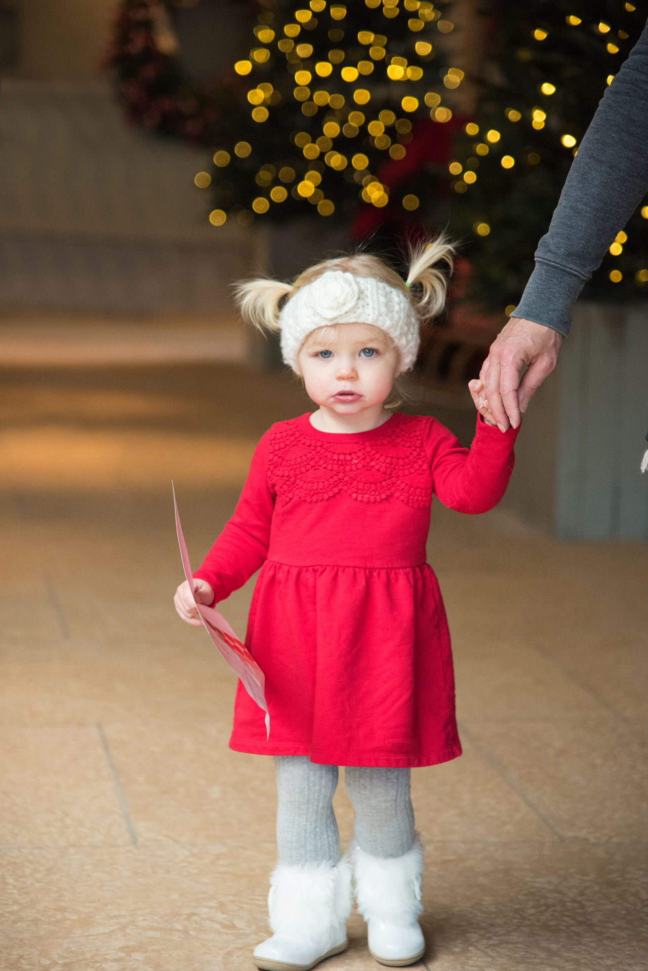 Adorable little girl in red knit dress with headband and pigtails in front of Christmas tree at indoor event with model release Adorable Bokeh Boots Child Childhood Children Christmas Christmas Tree Close-up Full Length Headband Leggings Little Girl One Person People Pig Tails Pony Tail  Red Dress