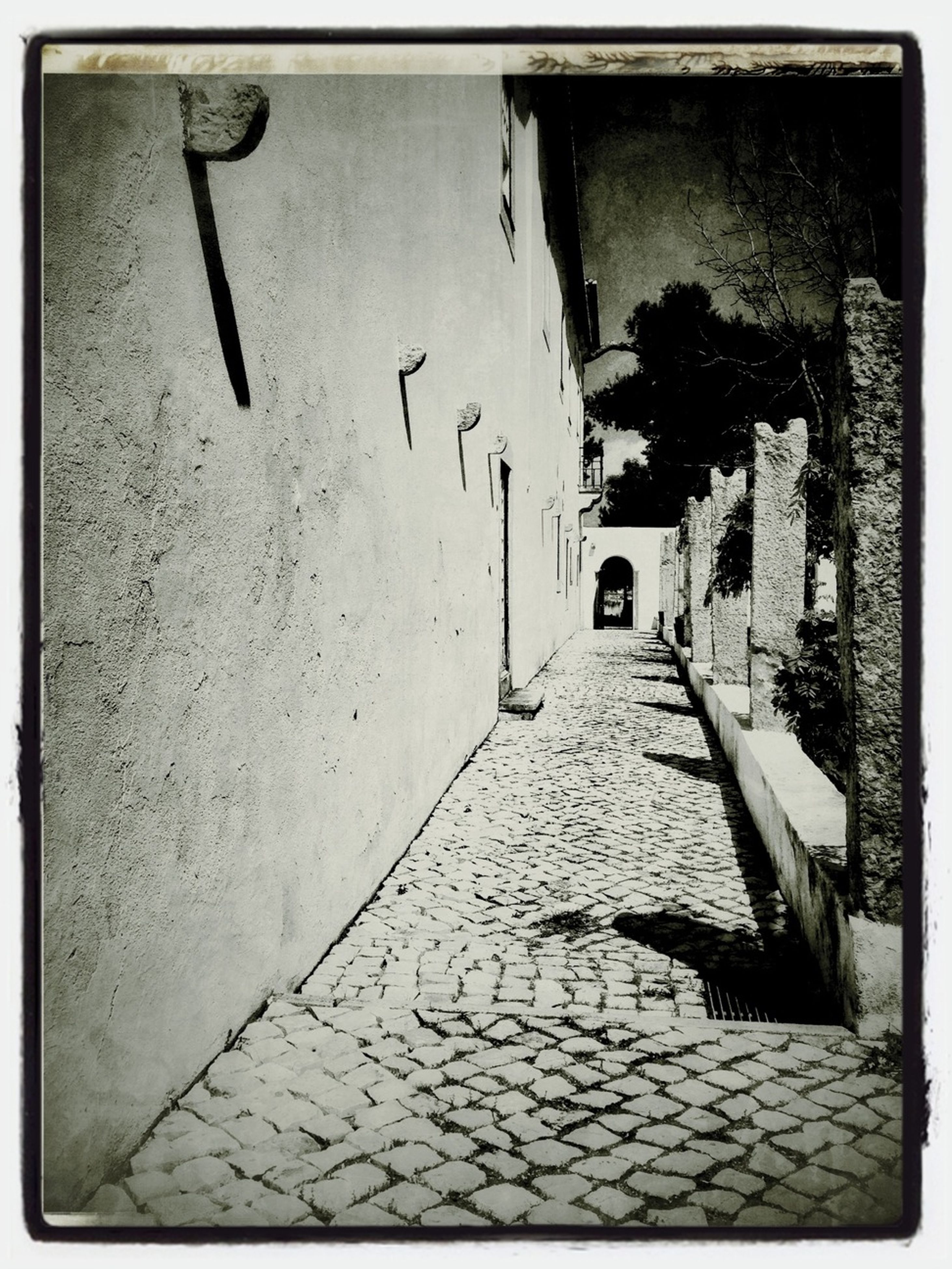 architecture, transfer print, built structure, auto post production filter, building exterior, the way forward, wall - building feature, indoors, building, diminishing perspective, wall, old, street, empty, cobblestone, no people, day, lighting equipment, house, vanishing point