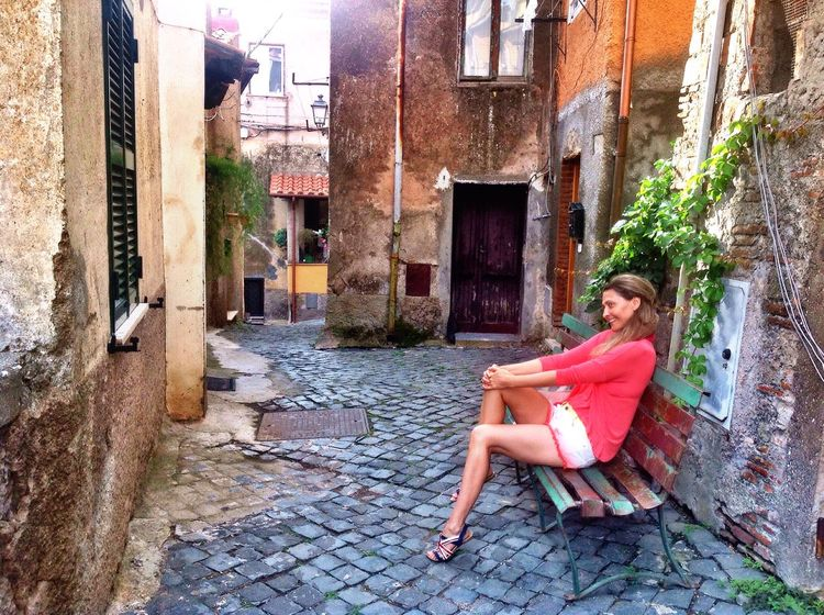 Small street in Beautiful town of Nemi in Italy. Street Photography Beautiful Girl Bench Sitting Person Antique Rustic Travel Old Sity Architecture