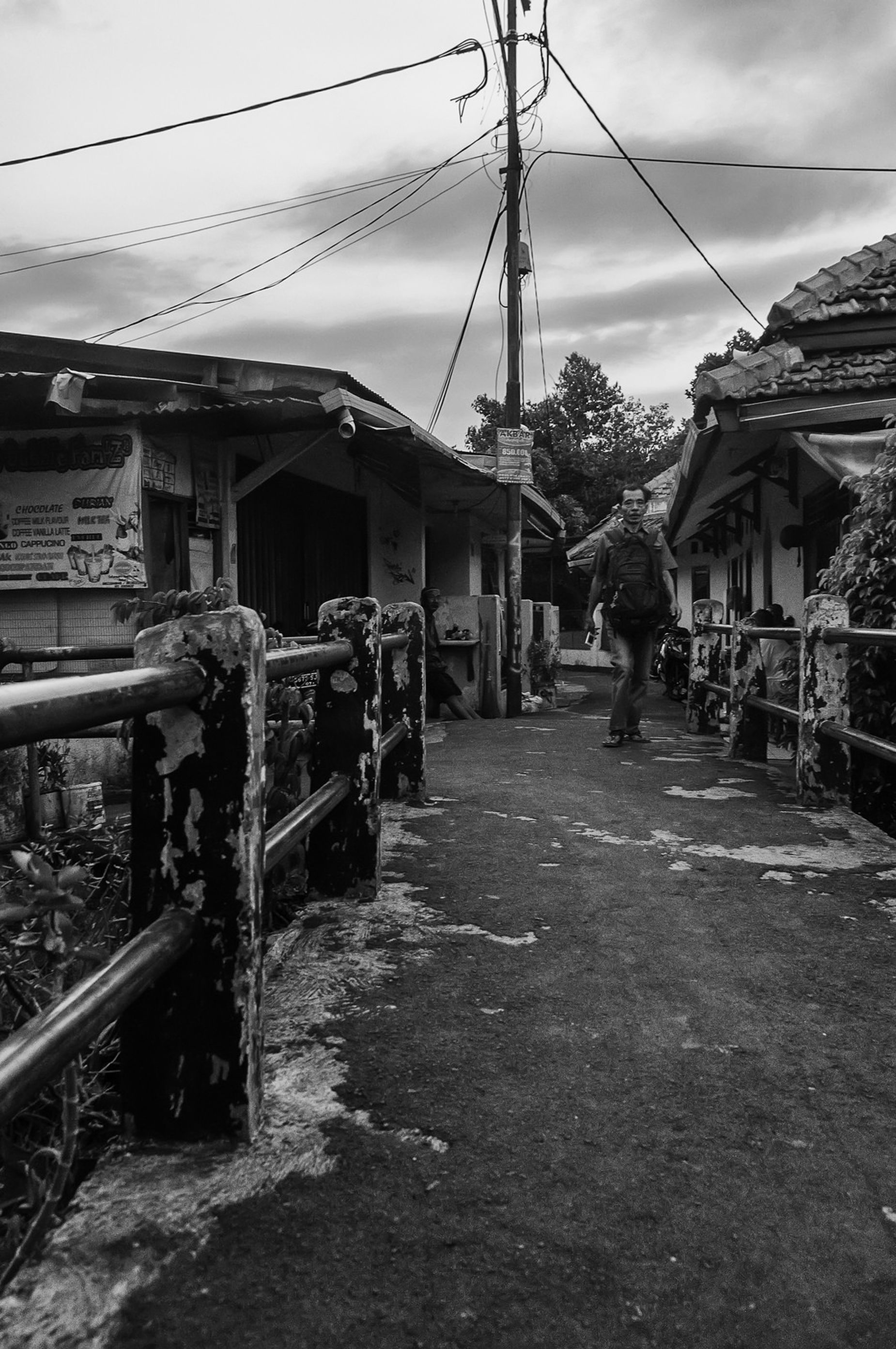 Leaving the colony. Balck And White street photography People