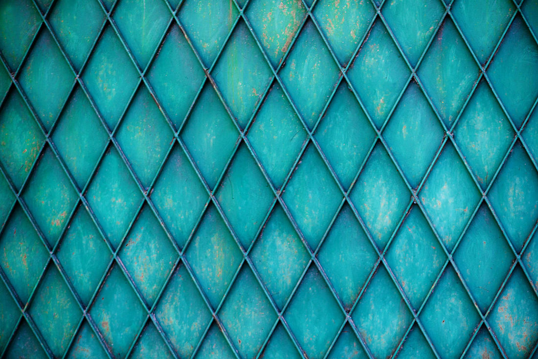 Abstract Backgrounds Blue Blue Sky Close-up Day Design Fence Full Frame Green Grid Horizontal Metal Gates No People Outdoors Pattern Pattern, Texture, Shape And Form Pyramid Seamless Pattern Textured  Textured