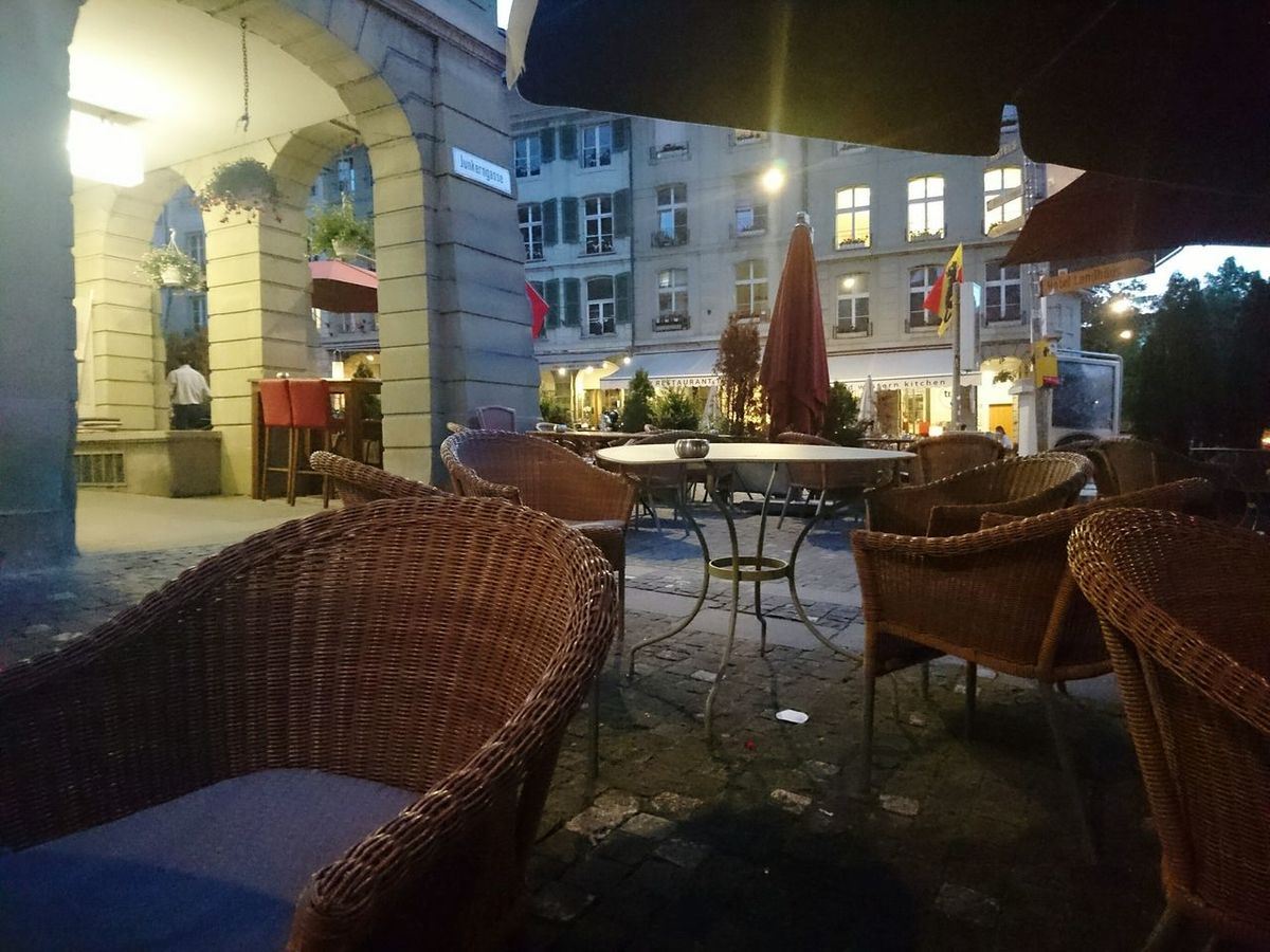 Night Restaurant Chair No People Outdoors City Old Town Capitolcity Bern, Switzerland HJB Travel Destinations Illuminated Silence