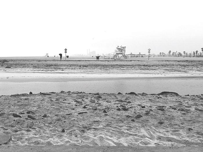 B&W Beach rain at the Santa Ana River Jetty. Pacific Ocean Rain Rainy Days River Life Guard Stand Santa Ana River Jetty