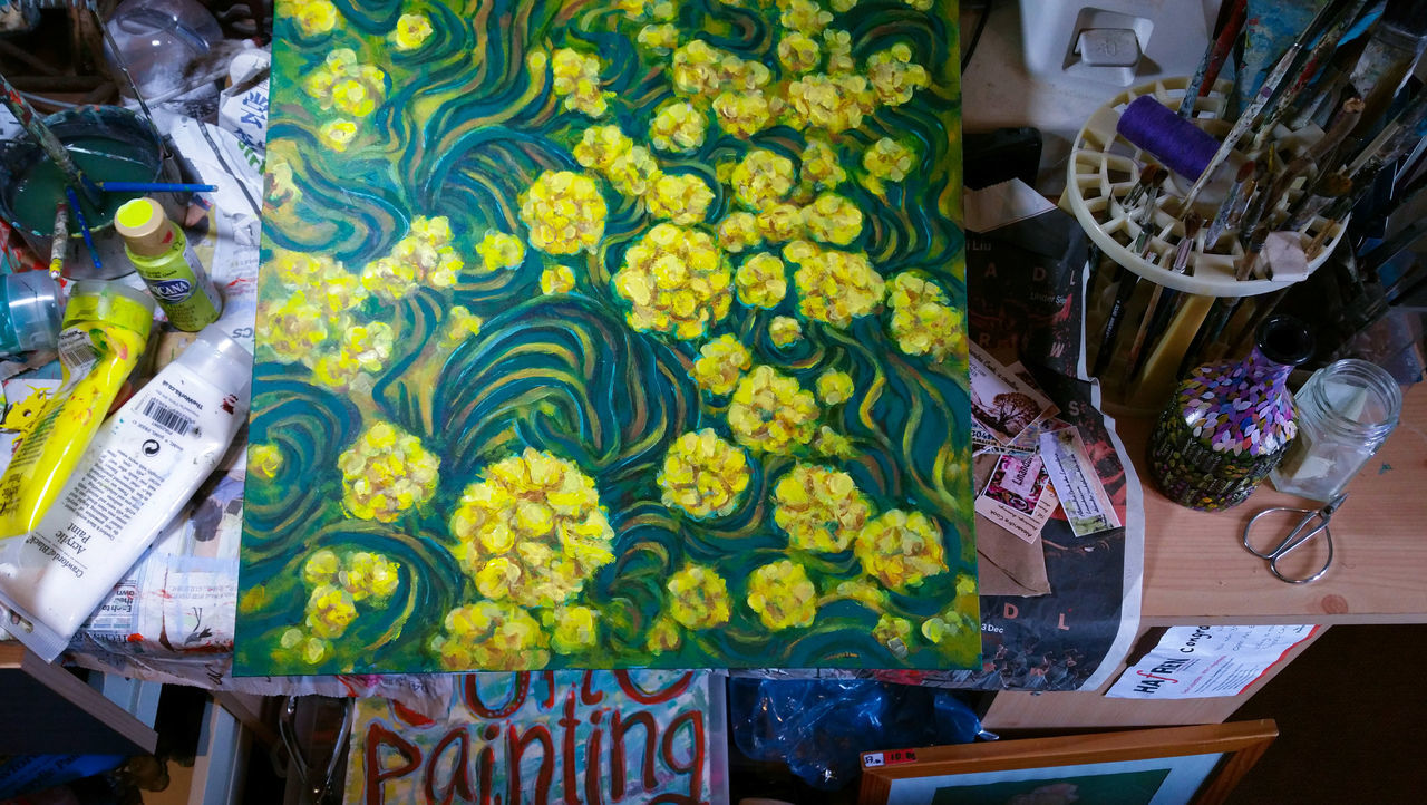 Gone painting. .. High Angle View Flower Multi Colored Freshness Indoors  No People Beauty In Nature Close-up Nature Painting Acrylic Art ArtWork My Artwork