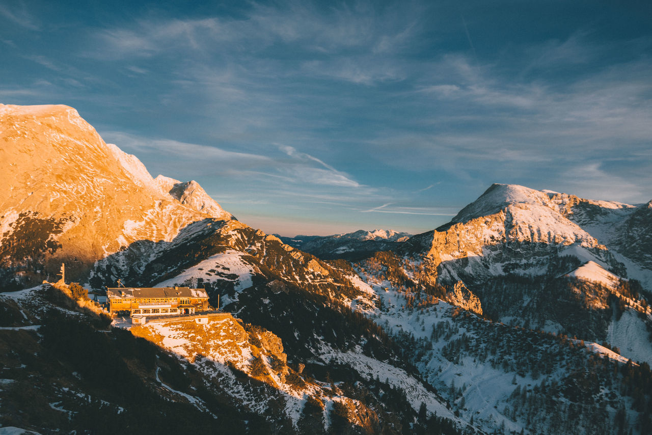 winter mountain range with hotel at sunset Beauty In Nature Cabin Cat Cloud - Sky Cold Temperature Day EyeEm Best Shots EyeEm Gallery EyeEm Nature Lover Hotel Landscape Landscape_Collection Landscape_photography Mountain Mountain Peak Mountain Range Nature No People Outdoors Sky Snow Sunset Travel Winter