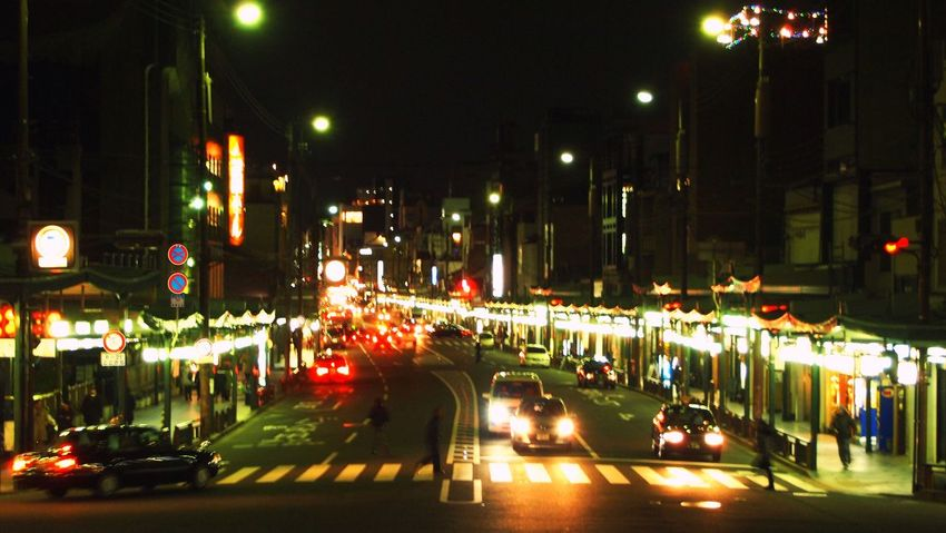 Japan street at night Japan Kyoto Night Transportation Street Photography EyeEm Best Shots EyeEm Best Edits Eyeem Photography Upload Atmosphere On The Move Traffic Road Blurred Motion Quiet Urban Exploration People And Places Color Of Technology Travel My Best Photo 2016 Film Vanishing Point Overnight Success