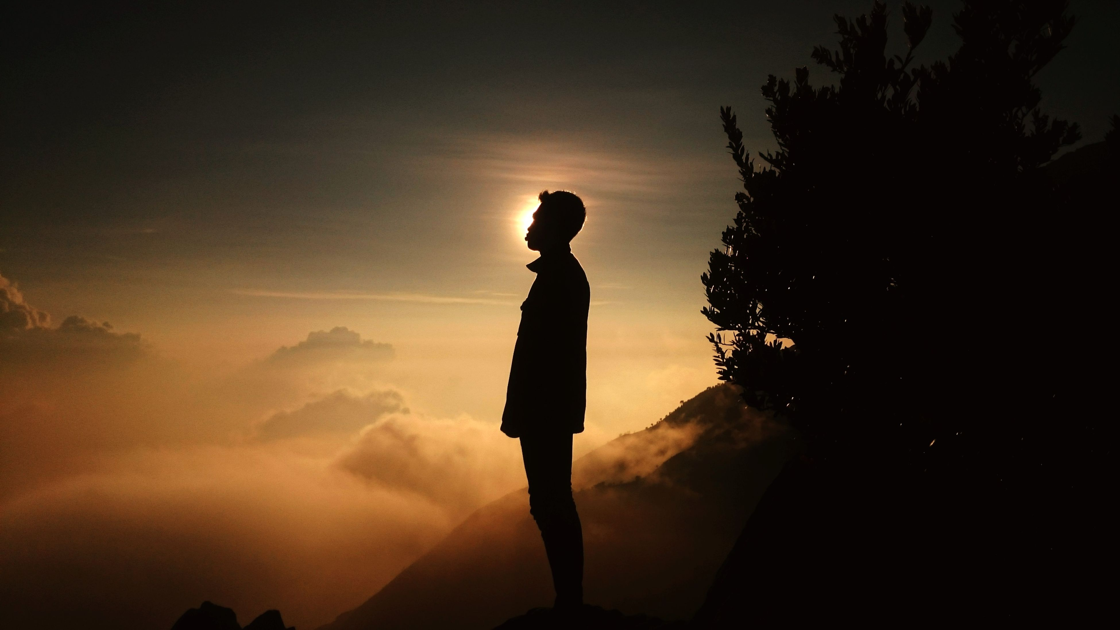 silhouette, sunset, sky, lifestyles, leisure activity, standing, men, low angle view, dusk, outline, nature, outdoors, tranquility, full length, cloud - sky, unrecognizable person, person, sun
