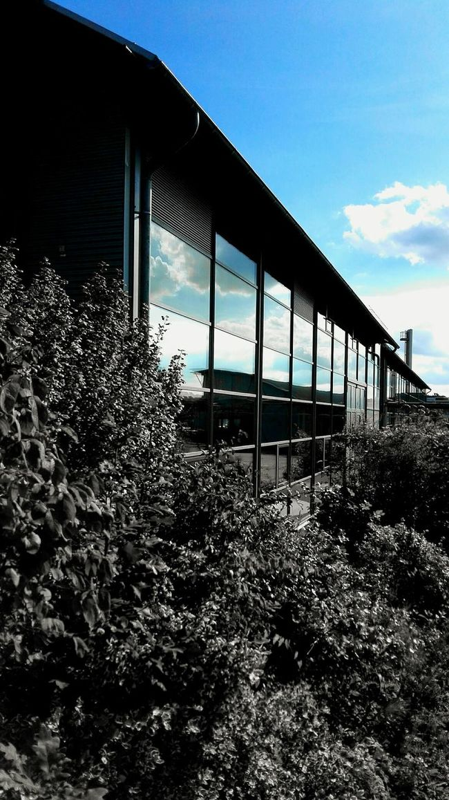 Check This Out The Color Of School a Building of the University of Applied Sciences in Kiel Architecture Reflection In The Window from the Sky And Clouds Built Structure Connection Blue No People Architectural Column Scenics Eye4photography  in Black And White With A Splash Of Colour