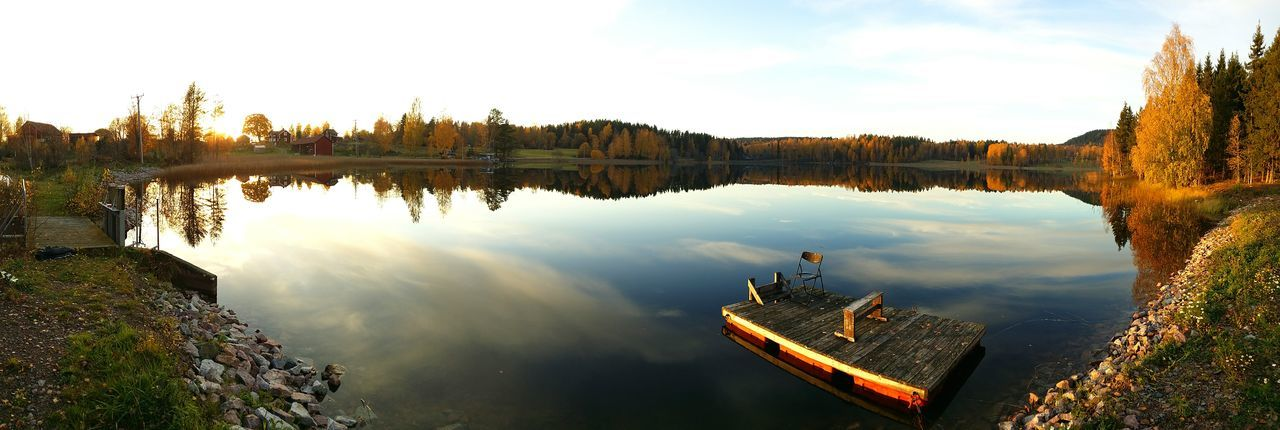 Panoramic View Of Calm Lake Against Sky