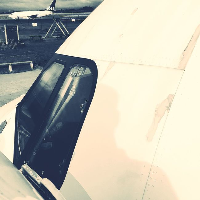 Reflection on the flight deck Transportation No People Day RJX Airplane Scenics Airport Sun Outdoor Photography