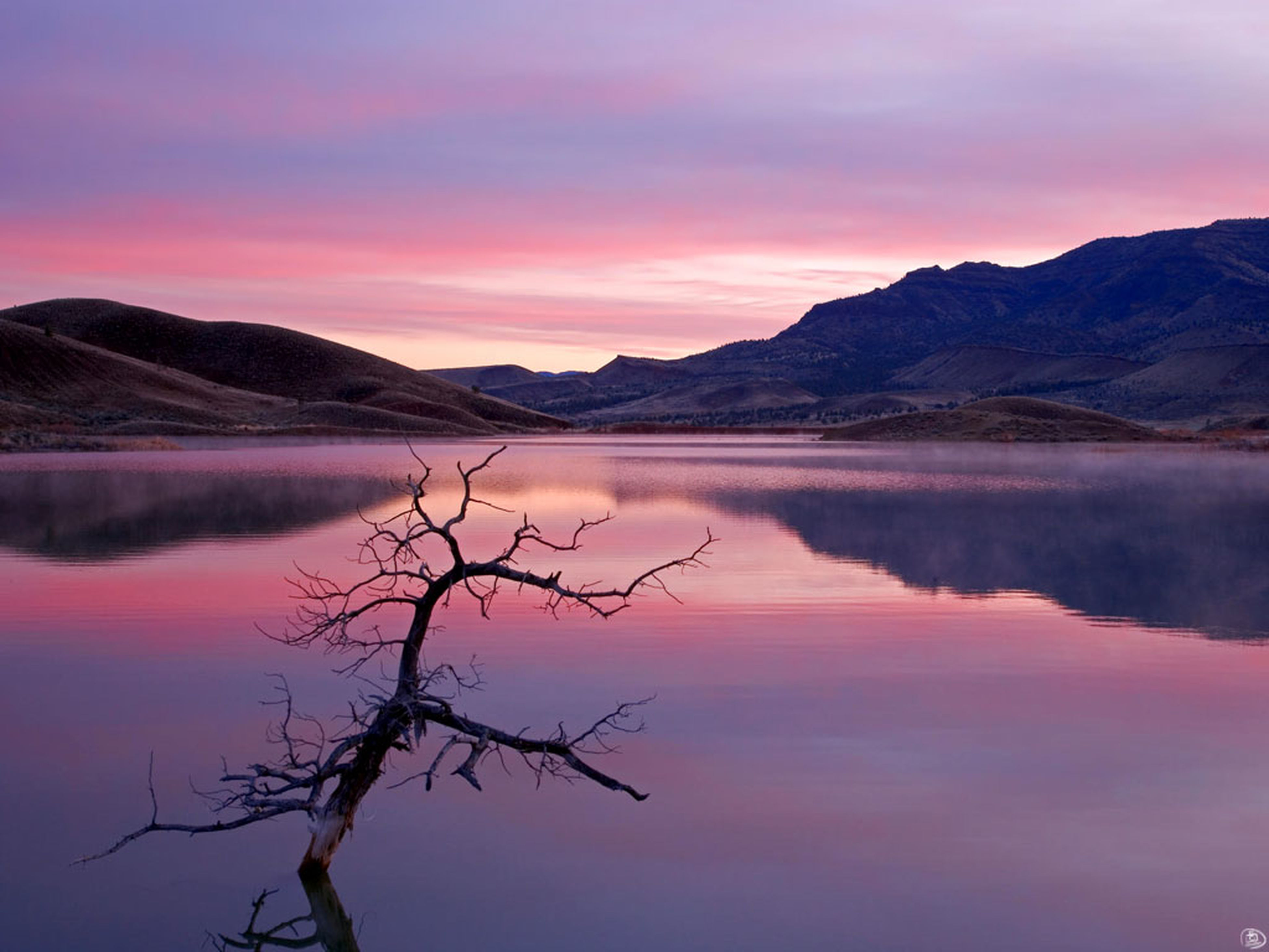 sunset, reflection, scenics, landscape, mountain, lake, nature, beauty in nature, pink color, tranquil scene, outdoors, sky, water, no people, tree, fog, mountain range, rural scene, dawn, day