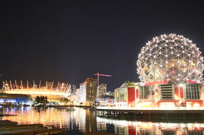 Architecture Arts Culture And Entertainment BC Place City City Life Cityscape Glowing Illuminated Night Reflection Science World  Sky Tourism Travel Destinations Urban Skyline Vacations Vancouverisawesome Water Waterfront
