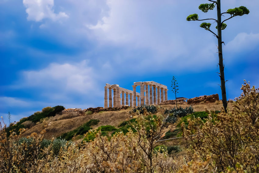 Temple of Poseidon at Sounio.. Ancient Ancient Greece Architecture Beauty In Nature Blue Day Greece History Landscape Nature No People Outdoors Sky Sounio Sounion Tourism Travel Travel Destinations Tree