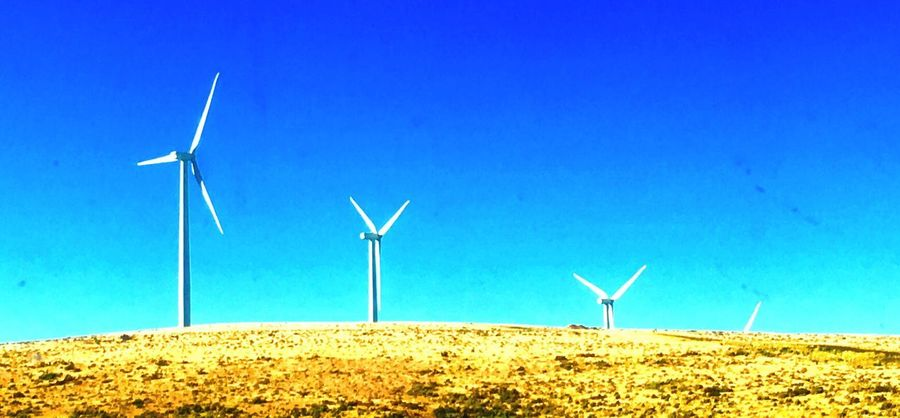 Wind Turbine Wind Power Alternative Energy Environmental Conservation Renewable Energy Fuel And Power Generation Windmill Blue Industrial Windmill No People Outdoors Rural Scene Day Nature Field Landscape Clear Sky Sky Traditional Windmill Scenics