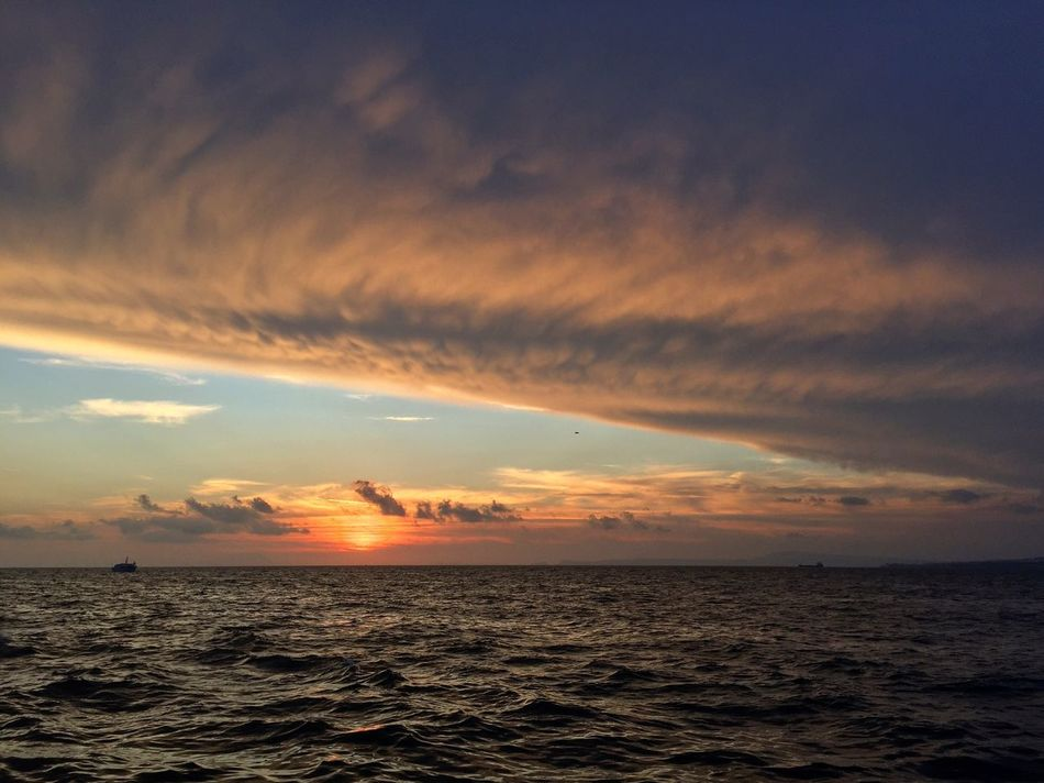 Sea Beauty In Nature Sunset Horizon Over Water Cloud - Sky Nature Sky Scenics Water Tranquility No People Outdoors Beach Yacht Sea And Sky Seascape Calm