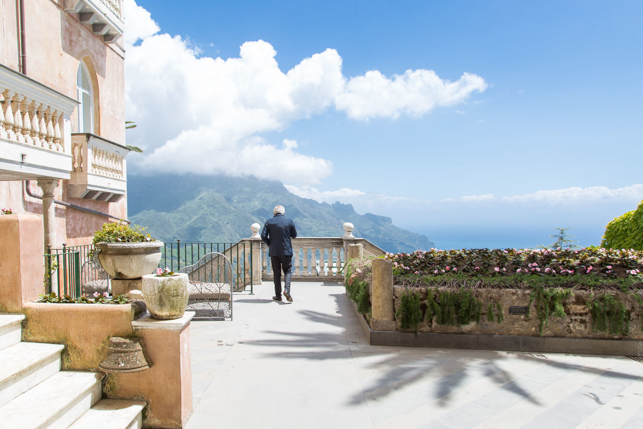 Amalfi Coast Architecture Beauty In Nature Building Exterior Built Structure Cloud - Sky Day Full Length Italy Leisure Activity Lifestyles Men Nature One Man Only One Person Outdoors People Real People Rear View Rustic Sea Sky Summer View Water