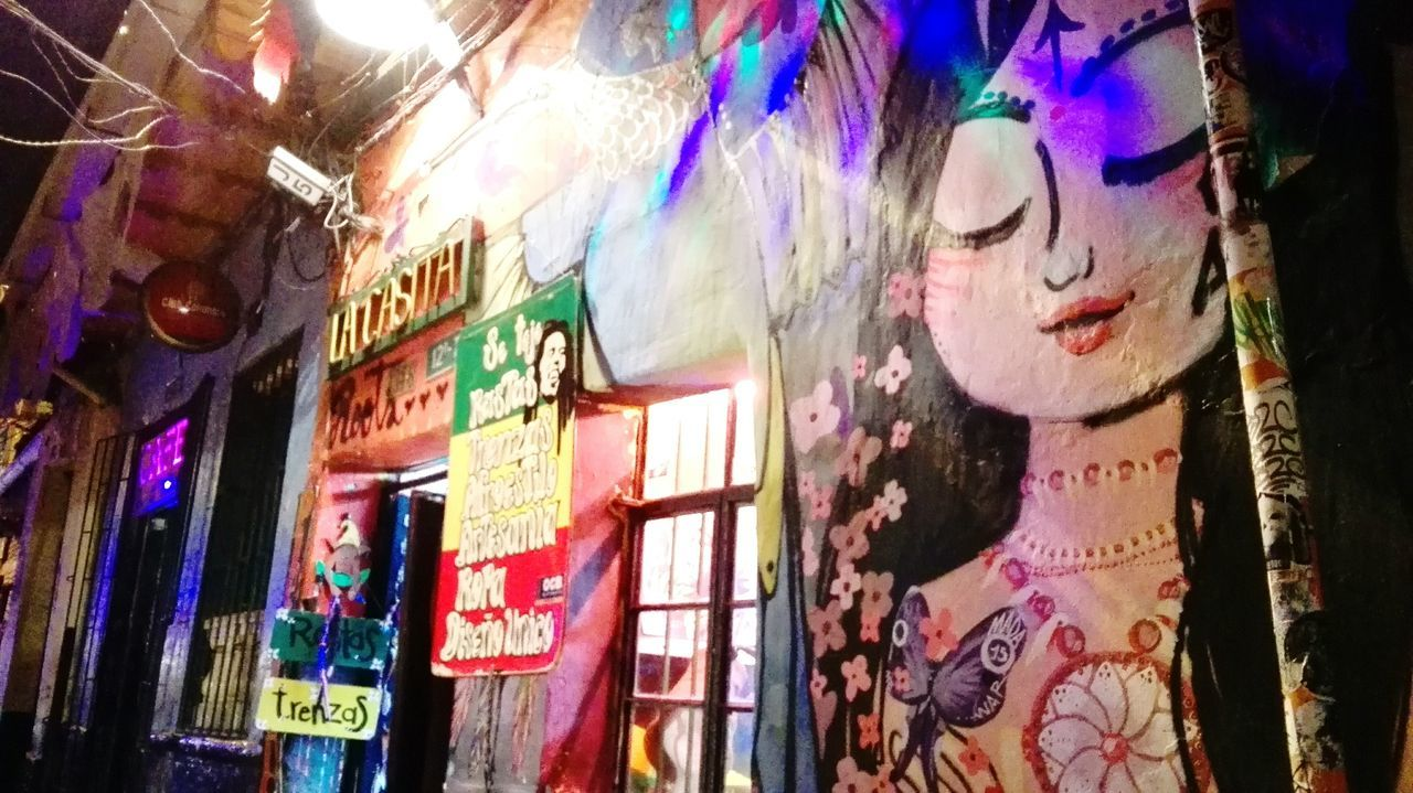 Graffiti Multi Colored Art And Craft Window Street Art Painted Image Close-up Architecture Night No People Indoors