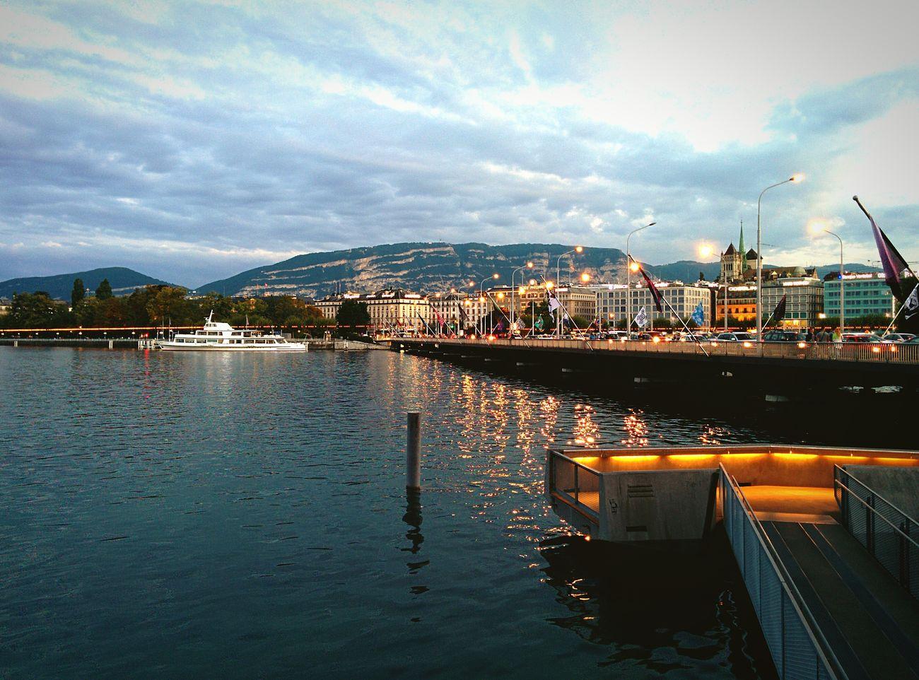 Geneve Evening Sky Reflection