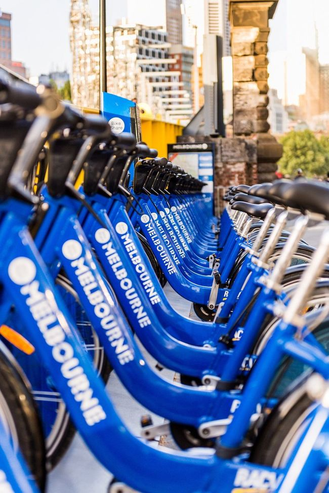 Bicycle Melbourne Blue Bike Hire Vanishing Point Bicycle Hire