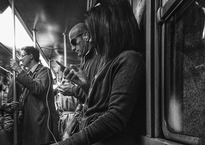 Listen   iPhone 5S ProCamera   edited with Snapseed//Filterstorm neue apps Youmobile Notes From The Underground AMPt_community Blackandwhite Black & White Subway