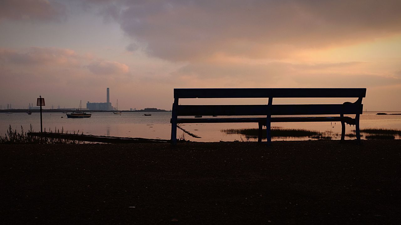 Somewhere to rest Water Beauty In Nature Sky Silhouette Outdoors Bench Seat Cloud - Sky No People Medway River Medway Estuary Horizon Over Water Power Station Empty