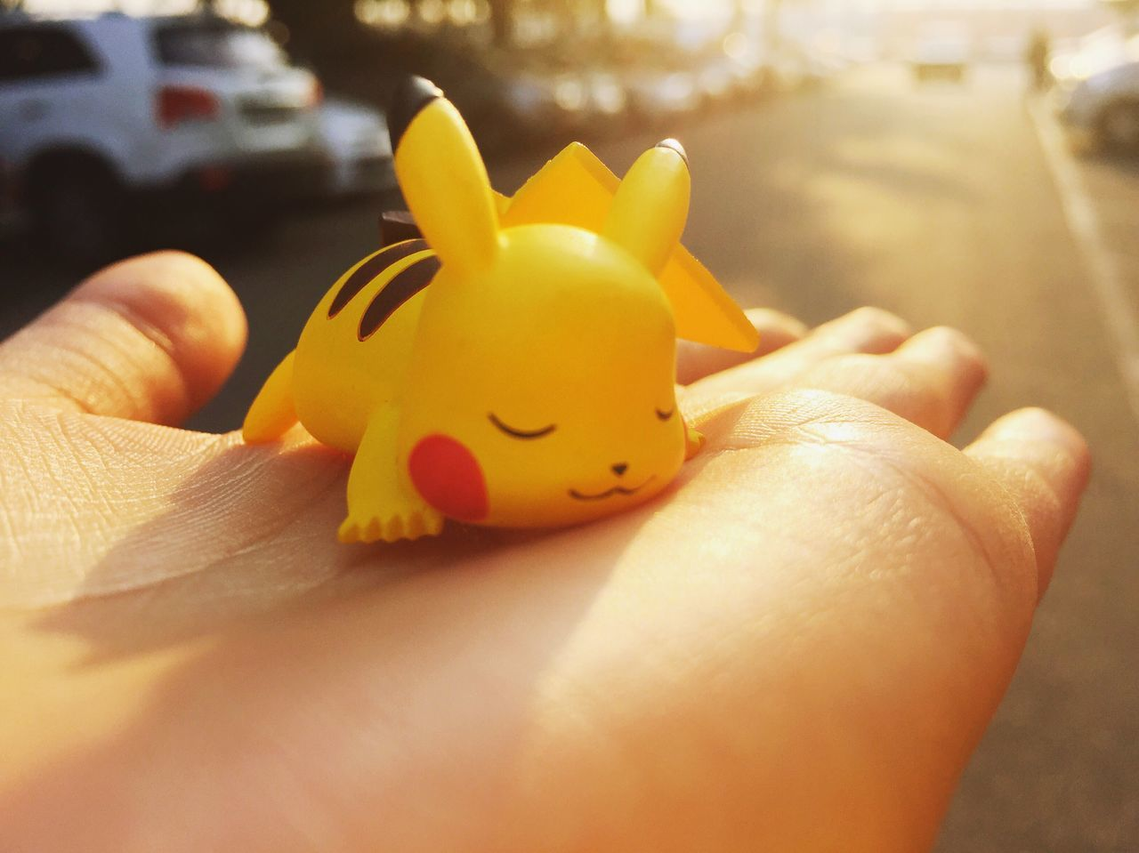 Pika! Human Hand Close-up Holding Sunlight Yellow Poketmonster Pikachu Pika Pika ♥ Pigure Sleeping Sunshine Comfortable Naptime