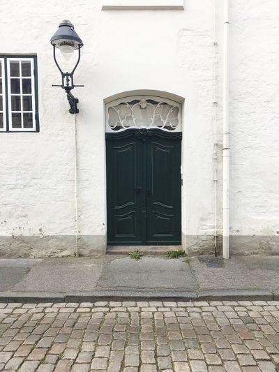 Green Front Door Darkgreen Door Lantern Big Lantern White Wall