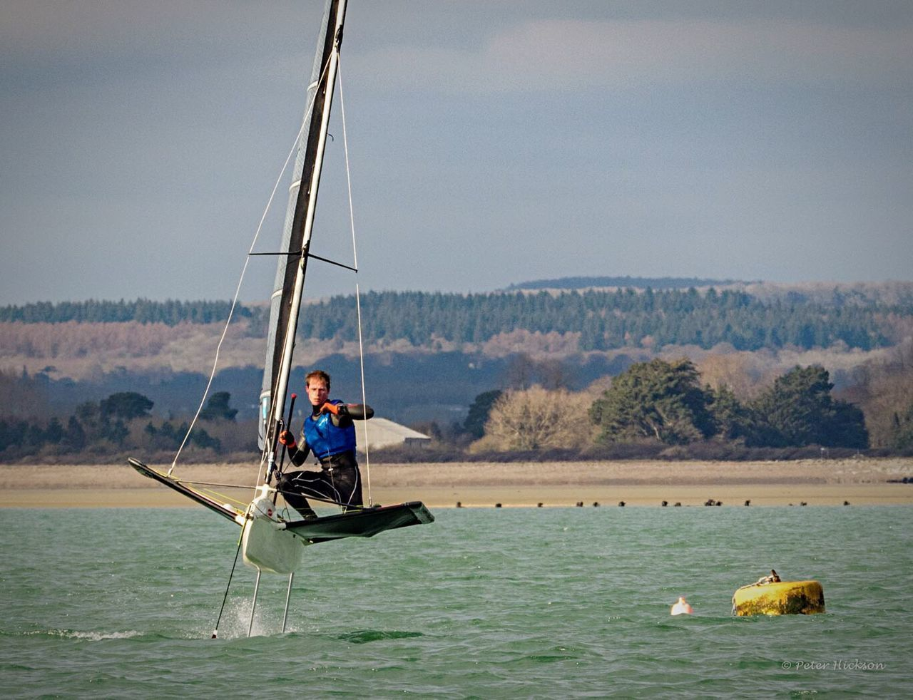 Balancing whilst sailing - international moth boys out practicing Sailing Haylingislandsailingclub Sea Chichester Harbour Wind Dinghy