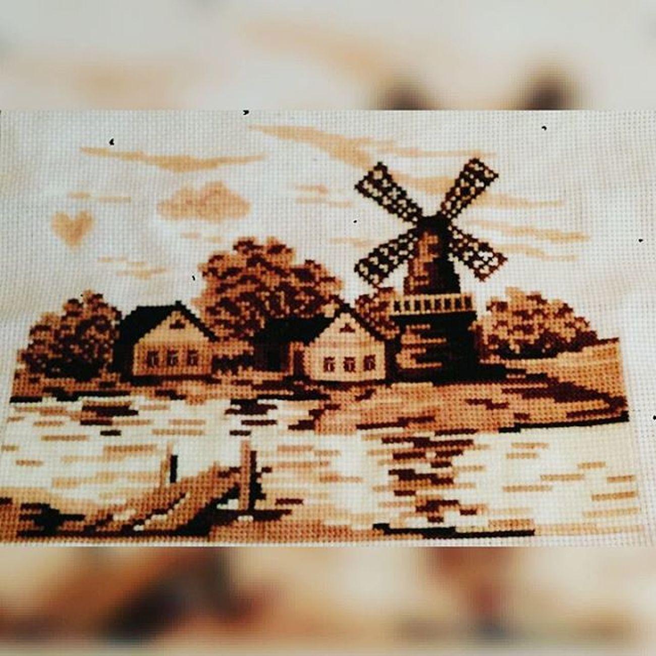 вышивка рукоделие мояработа МоеХобби Мельница домики домик облака Закат сепия деревня Коричневый оранжевый Embroidery Needlework Myhobby Houses House Sunset Mill Sepia крестик Cross Village