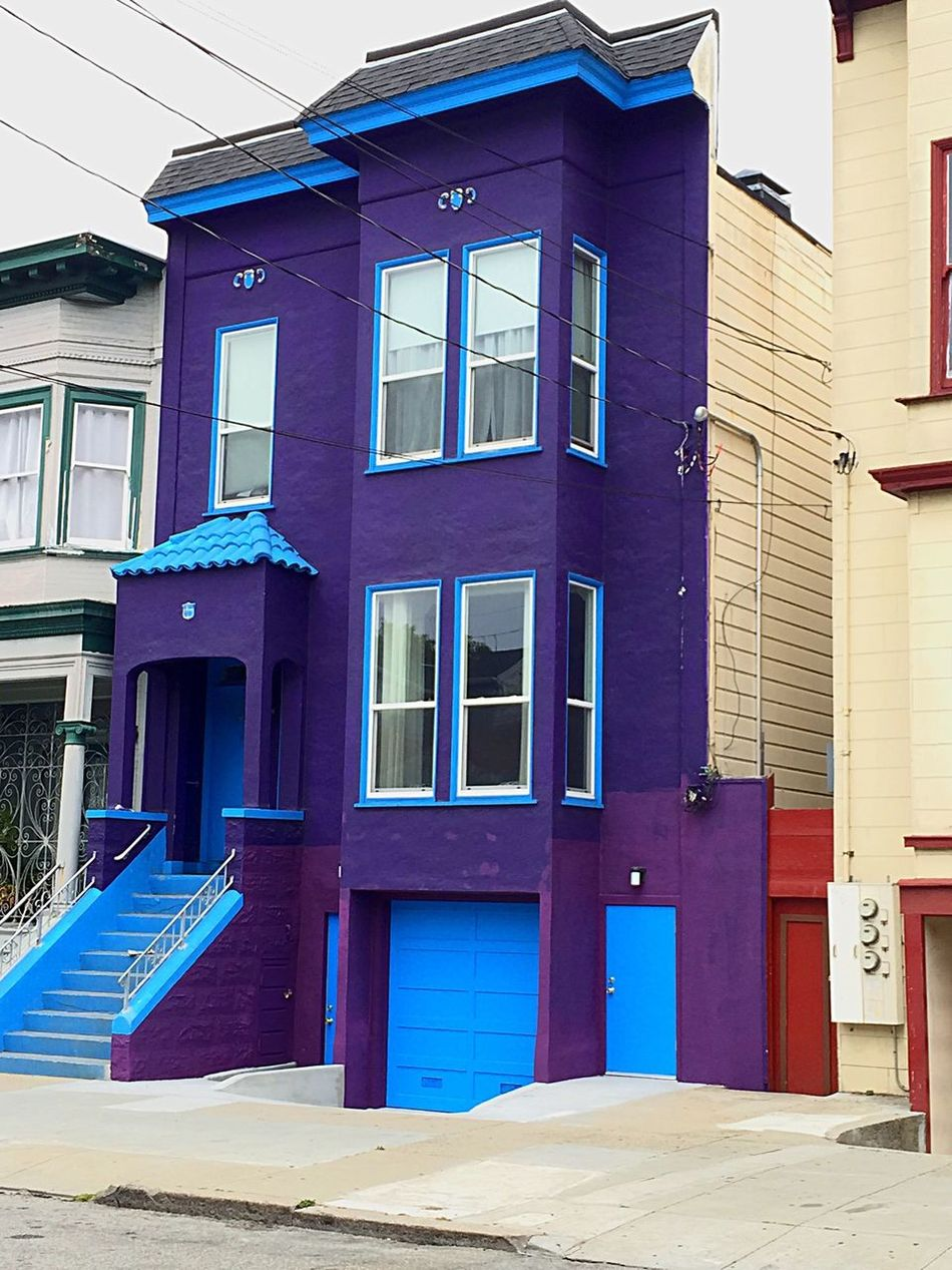 Streets Of San Francisco 16th And Mission Street Carnival Purple Houses Unique