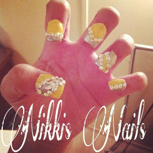 #yellow #silver Nails<3